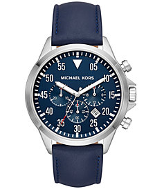 Michael Kors Men's Chronograph Gage Blue Leather Strap Watch 45x52mm