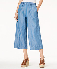MICHAEL Michael Kors Wide-Leg Chambray Pants, Regular & Petite
