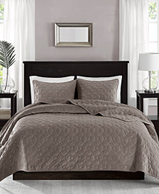 Madison Park Harper Faux Velvet 3-Pc. Quilted Full/Queen Coverlet Set