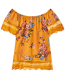 Beautees Big Girls Floral Lace-Trim Peasant Top
