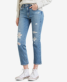 Levi's® 724 Ripped Straight-Leg Cropped Jeans