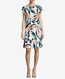 ECI Floral-Print A-Line Dress