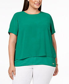 MICHAEL Michael Kors Plus Size Split-Back Top