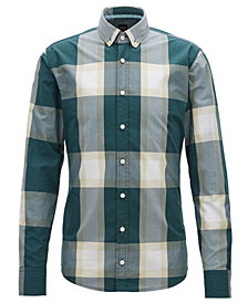 BOSS Men's Slim-Fit Oversized Checked Cotton Shirt