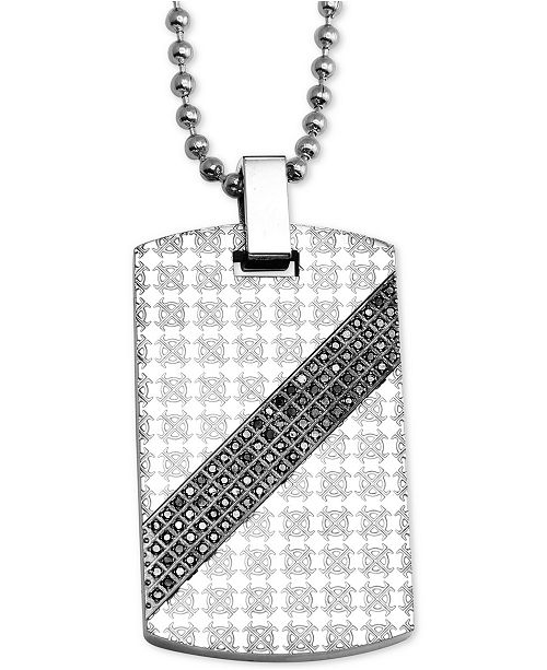 "Macy's Men's Diamond Patterned Dog Tag 24"" Pendant Necklace (1/2 ct. t.w.) in Stainless Steel"