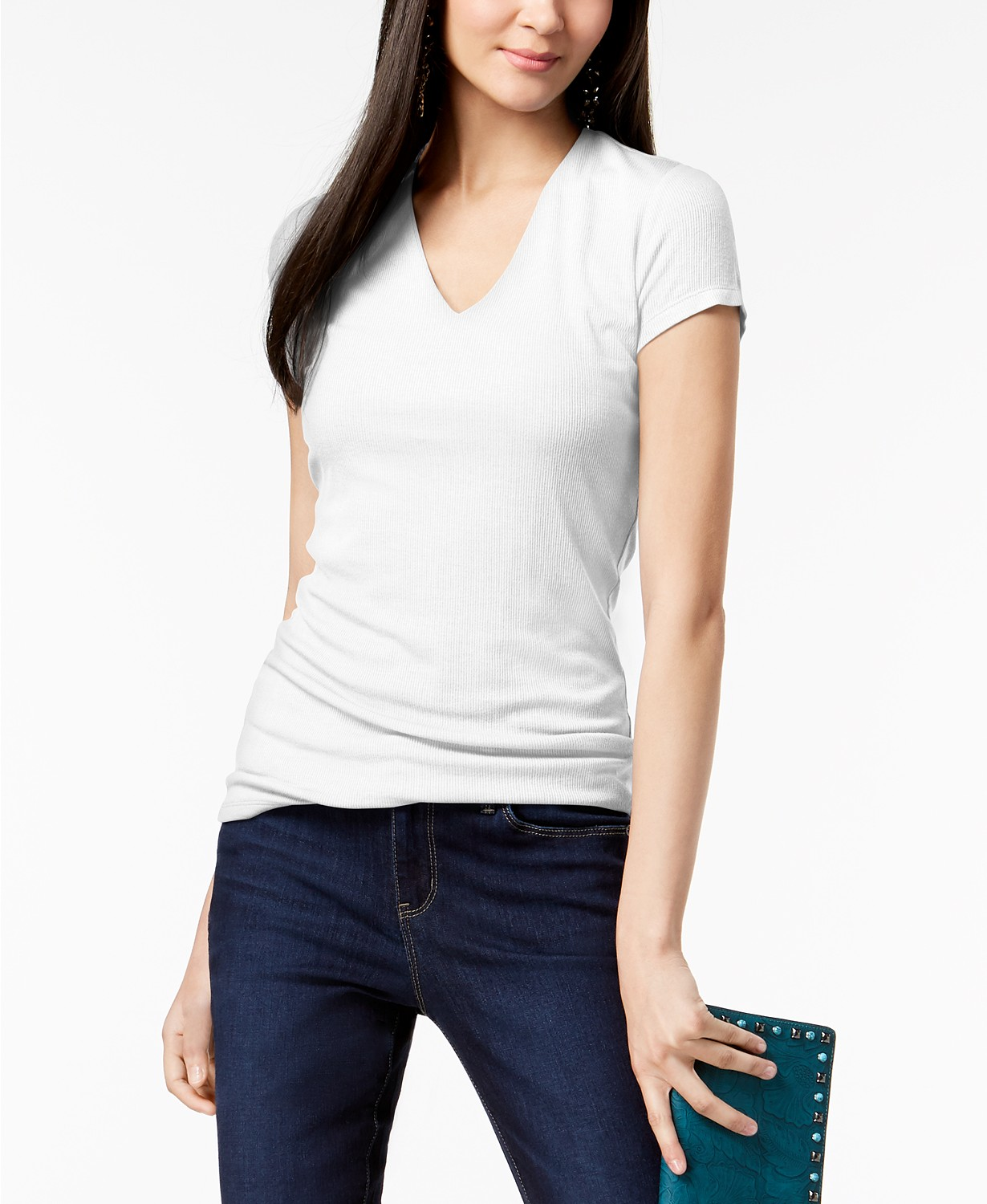 INC International Concepts INC Ribbed V-Neck Top, Created for Macy's