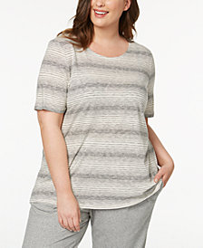 Eileen Fisher Plus Size Striped T-Shirt