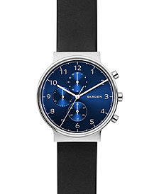 Skagen Men's Chronograph Ancher Black Leather Strap Watch 40mm