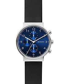 Skagen Men's Chronograph Ancher Black Leather Strap Watch 40mm