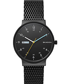 Skagen Men's Ancher Black Stainless Steel Mesh Bracelet Watch 40mm