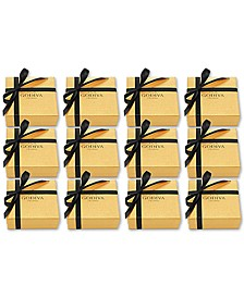 Set of 12 4-Pc. Gold Gift Boxes With Black Ribbon