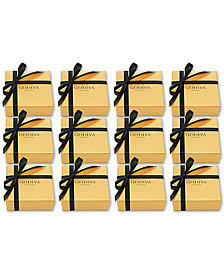 Godiva Set of 12 4-Pc. Gold Gift Boxes With Black Ribbon