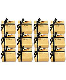 Godiva Set of 12 4-Pc. Gold Gift Boxes With Black Ribbon