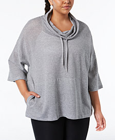Calvin Klein Performance Plus Size Cowl-Neck Cropped Top