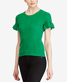 Lauren Ralph Lauren Lace-Trim Cotton Sweater