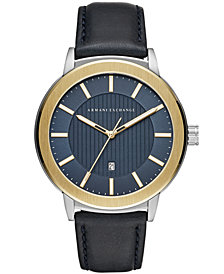 A|X Armani Exchange Men's Maddox Navy Leather Strap Watch 46mm