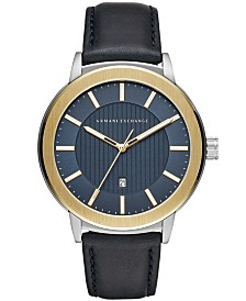 A|X Armani Exchange Men's Maddox Navy Leather Strap Watch 46mm