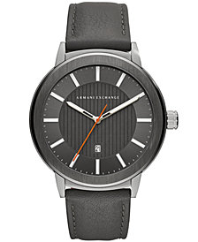 A|X Armani Exchange Men's Maddox Gray Leather Strap Watch 46mm