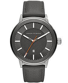 A|X Armani Exchange Men's Maddox Gray Leather Strap Watch 46mm