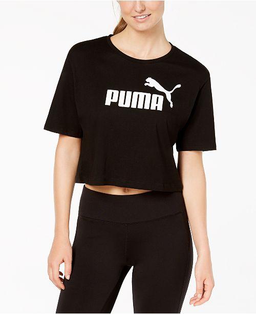 da14cad587f Puma Cotton Cropped Logo T-Shirt & Reviews - Tops - Women - Macy's