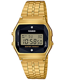 G-Shock Unisex Digital Vintage Diamond (1/10 ct. t.w.) Gold-Tone Stainless Steel Bracelet Watch 37mm, Created for Macy's