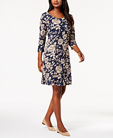 Karen Scott Petite Printed 3/4-Sleeve Dress, Created for Macy's