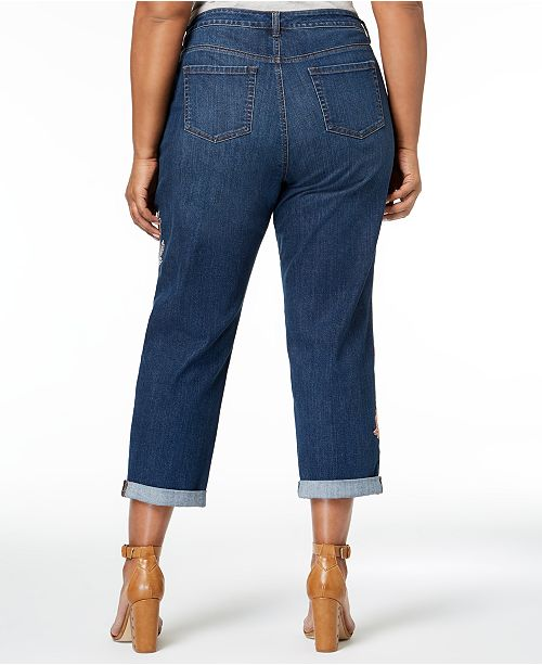 for Co Size Fit Jeans Plus Created Curvy Shine amp; Botanical Ankle Melody Embroidered Boyfriend Style Macy's SwOTq4