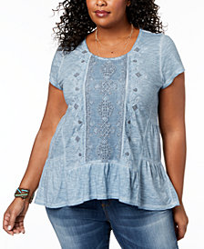 Style & Co Plus Size Embroidered Tiered Top, Created for Macy's