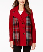 e5462c87b232 London Fog Double-Breasted Plaid-Scarf Peacoat