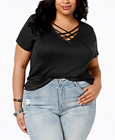 ABASIX Trendy Plus Size Criss-Cross Top