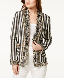 Rachel Zoe Stacie Striped Fringe-Trim Jacket