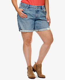 Lucky Brand Trendy Plus Size Distressed Denim Shorts