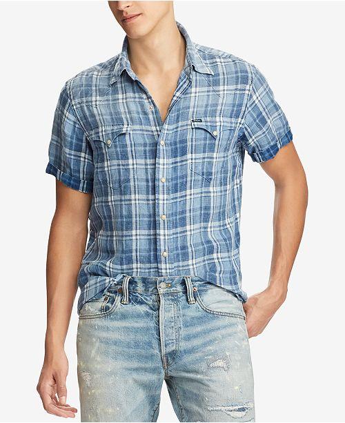 24ddbbbd Polo Ralph Lauren Men's Classic Fit Plaid Linen Shirt & Reviews ...