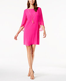 MSK Angel-Sleeve Necklace Shift Dress