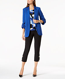 Nine West Kiss-Front Jacket, Printed Shell & Embellished Pants
