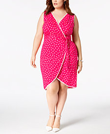 Love Squared Trendy Plus Size Polka Dot Wrap Dress