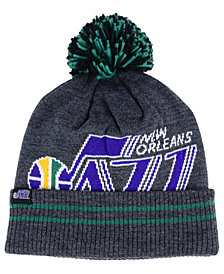Mitchell & Ness New Orleans Jazz Black Heather Hi-5 Pom Knit