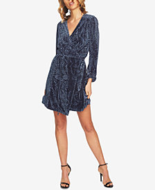 CeCe Velvet Textured Wrap Dress
