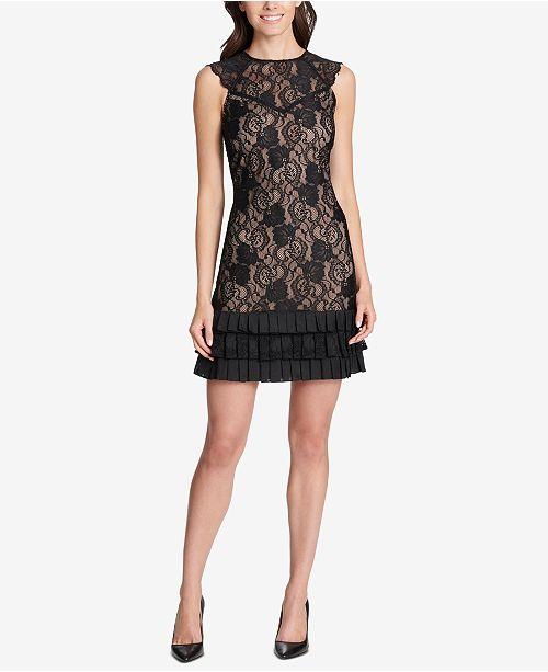 kensie Lace Ruffled-Hem Dress