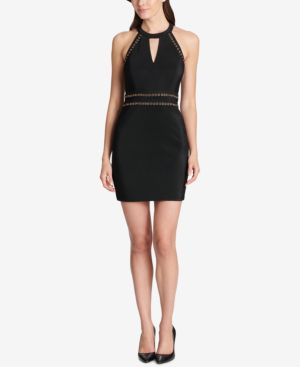 GUESS Shiny Ottoman Cutout Dress W/ Grommet Embellishment in Black
