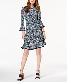 MICHAEL Michael Kors Petite Printed Flounce Dress