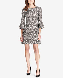 Tommy Hilfiger Bell-Sleeve Floral Knit Jacquard Dress