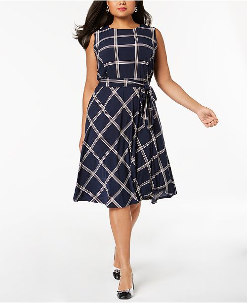 Charter Club Plus Size Plaid Sleeveless Dress, Created for ...