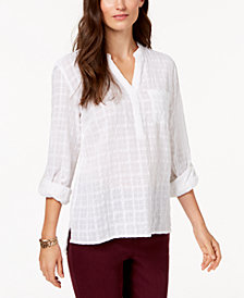 Style & Co Cotton Roll-Tab Textured Top, Created for Macy's