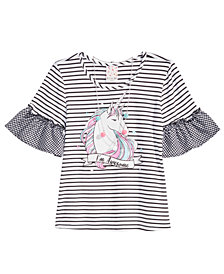 Belle Du Jour Big Girls 2-Pc. Flutter Sleeve Unicorn Top & Necklace Set