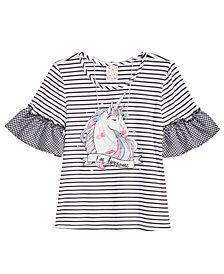 Belle Du Jour Big Girls 2-Pc. Flutter Sleeve Unicorn Top & Necklace Set