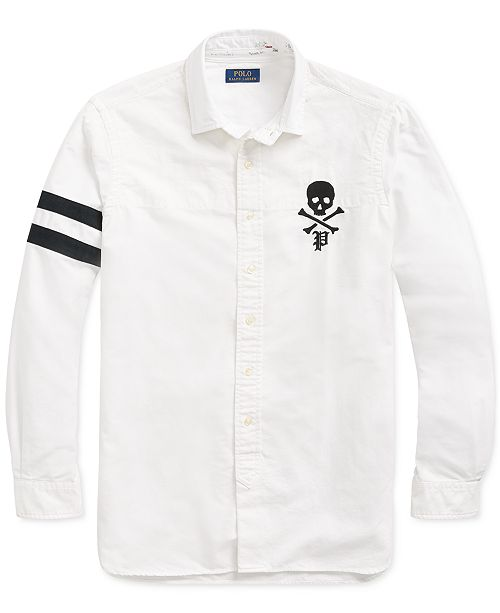 ef8ed1f6 Polo Ralph Lauren Men's Classic Fit Skull and Crossbones Embroidered Oxford  Shirt ...