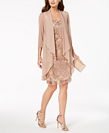 Sequin Embroidered Dress & Duster Jacket