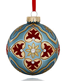 Holiday Lane Glass Blue Ball with Jewel Decoration Ornament, Created for Macy's