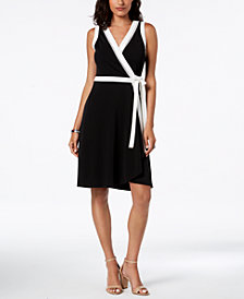 Tommy Hilfiger Contrast-Border Wrap Dress, Created for Macy's